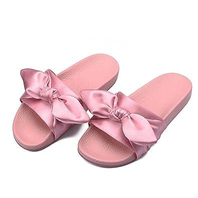 76df5bae9255 Beyond AV Womens Ladies Comfy Flats Bow Sliders Satin Slippers Sandals (UK  7 EU 40
