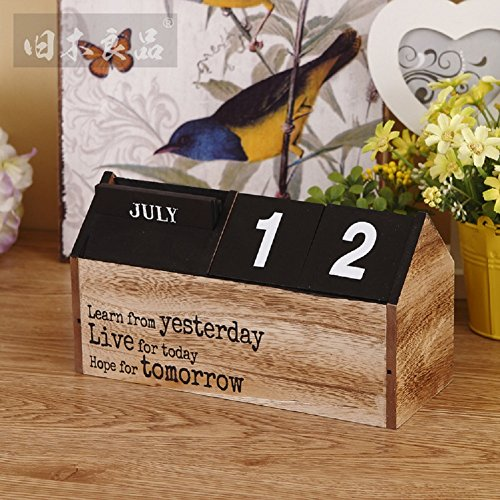 Hangnuo Handmade Wooden Calendar Diy Desktop Crafts Perpetual Desk