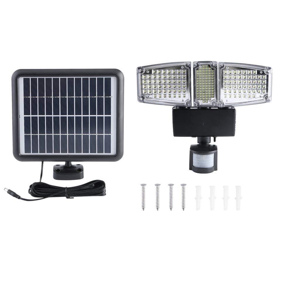 Leoboone178 LED Tre capo Outdoor Indoor Solar Powered sensore di movimento attivato luce di inondazione della lampada di induzione della lampada fissata al muro