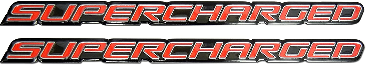 2 x pair//Set Red Supercharge Supercharged Aluminum Emblems for Chevy Corvette Dodge Hot Rod Street Chevy Impala Ss Harley Davidson Camaro Range Rover Ford Mustang Gt