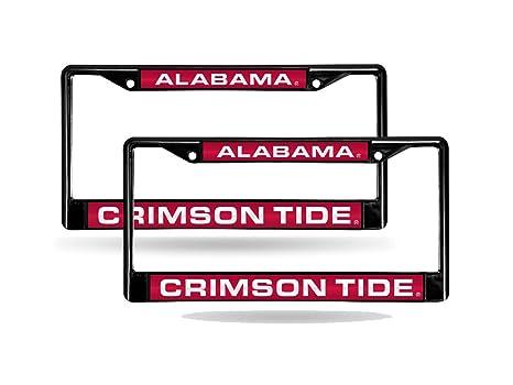 Amazon.com : Alabama Crimson Tide NCAA Black Metal (2) Laser License ...