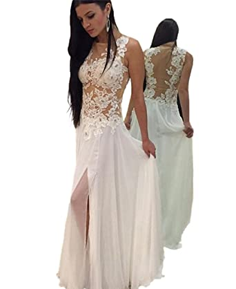 HONGFUYU Prom Dresses White Applique Long Chiffon Full Back Mermaid Gown Special Occasion Custom Made 2018