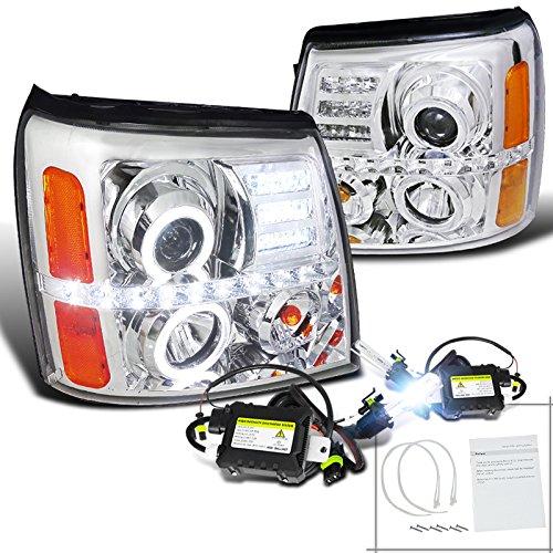 Escalade Halo LED Projector Headlight+H1 Slim HID Conversion Kit 6000K