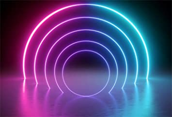 Amazon Com Leowefowa 7x5ft Let S Glow Neon Party Backdrop Vinyl Colorful Arch Neon Lights Futuristic Style Decades Party Chic Photography Background The 80 90 S Disco Party Banner Studio Props Camera Photo