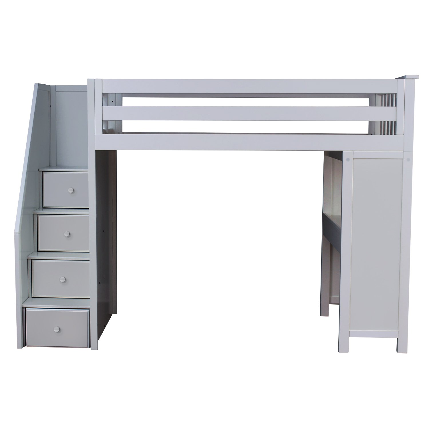 Plank & Beam Staircase Combo Loft Bed + Desk, Grey
