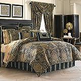 Comforter Sets King Luxury Five Queens Court Palmer Damask Luxury 4 Piece Comforter Set, King, Teal Navy Gold