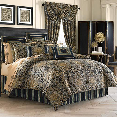 Five Queens Court Palmer Damask Luxury 4 Piece Comforter Set, Queen, Teal Navy Gold,