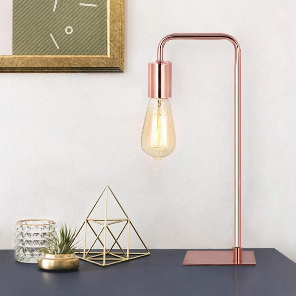 HAITRAL Modern Table Lamp - Vintage Nightstand Lamp, Cute Desk Lamp for Bedroom, Girls Room, Office, Dorm Rose Gold