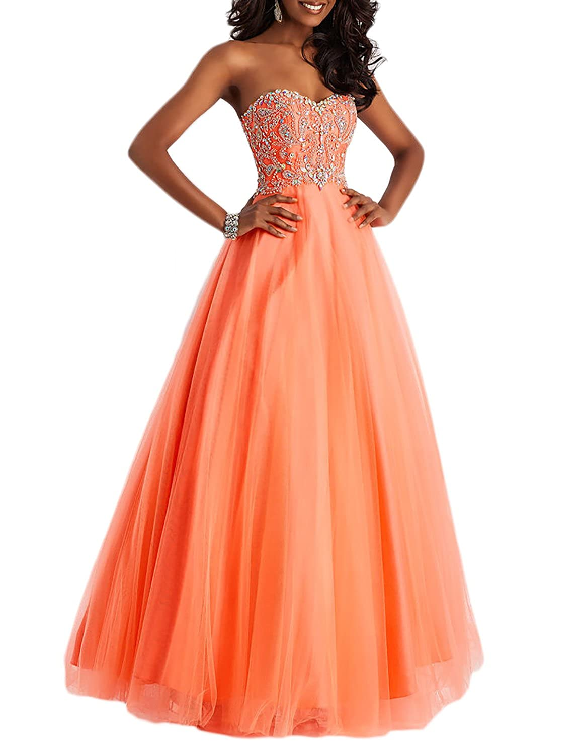 a3f6f747d37 DarlingU Women s Formal Sweetheart Beaded Prom Dress Party Gown Open Back  DPM281 at Amazon Women s Clothing store