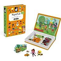 Janod- MAGNETI'BOOK 4 Estaciones Juego Magnetibook, Color Naranja