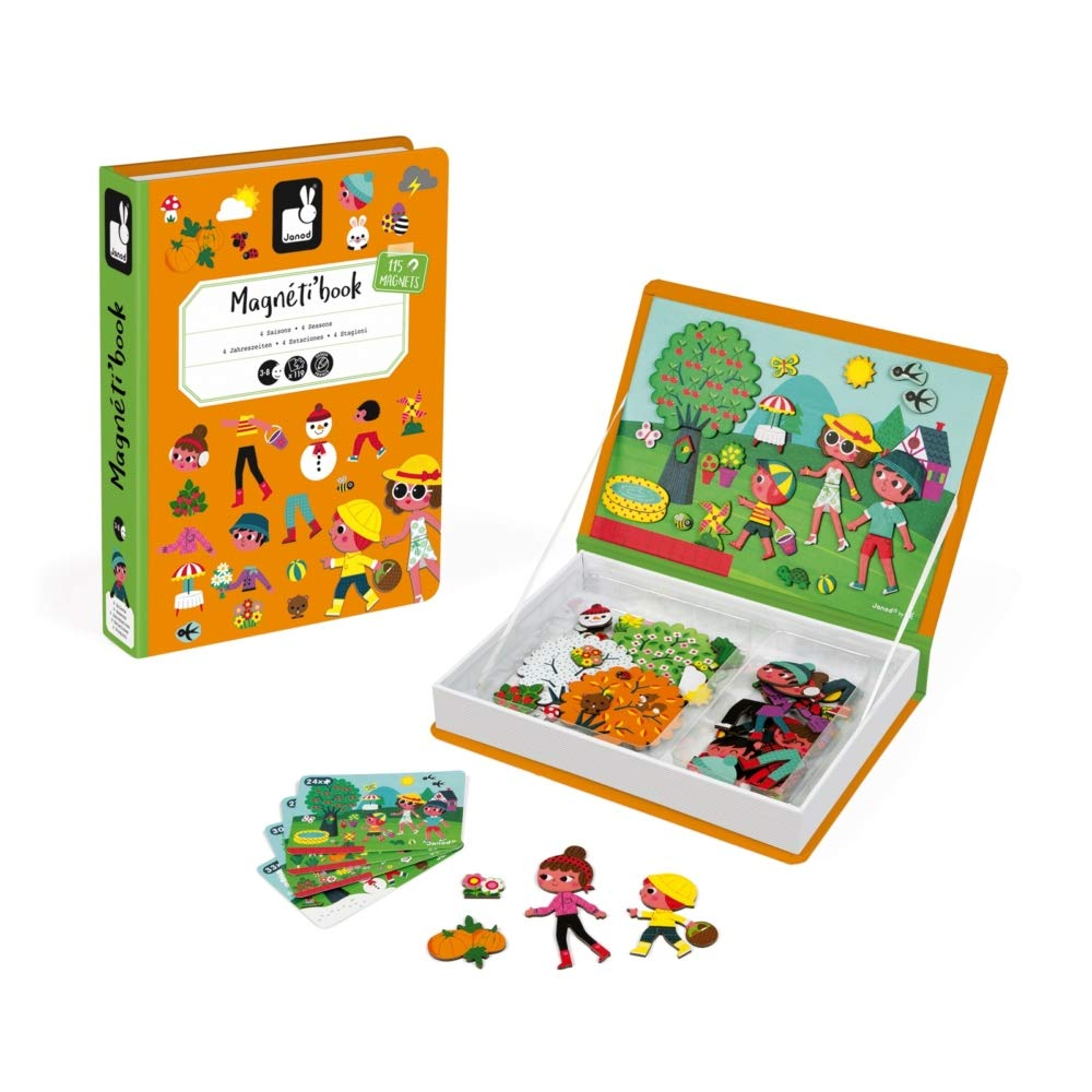 Janod MagnetiBook 120 pc Magnetic 4 Seasons Scenery Game for Education and Creativity - Book Shaped Travel/Storage Case Included - S.T.E.M. Toy for Ages 3+ by Janod