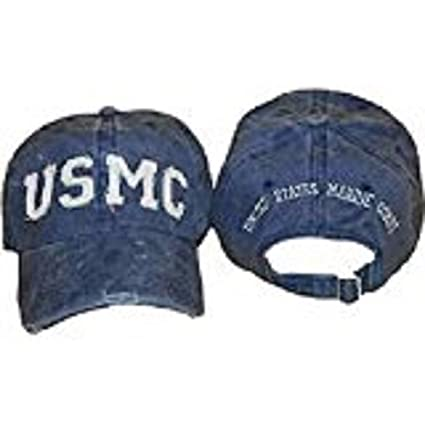 Ball Cap: USMC Marine Corps Blue Washed Denim style Hat Cap Cover (Lic by  usmc