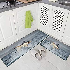 """Musesh 2 Pieces Kitchen Rugs and Mats Non Skid Washable Great White Shark in Attack Hunting of South Africa Carcharias Kitchen Rug Set 17""""X48""""+17""""X24"""" Kitchen Carpets and Rugs Modern Kitchen Rug"""