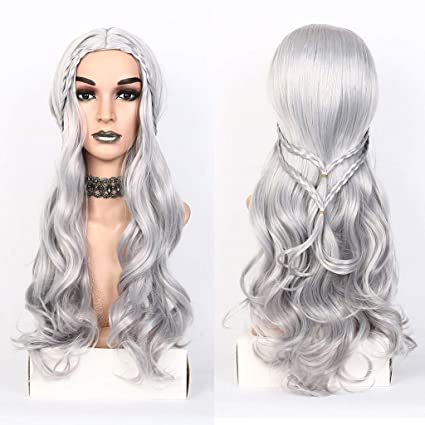 9859e2726e4 Amazon.com: Glumes Silver Lace Front Wig Long Wave Synthetic Wig For ...