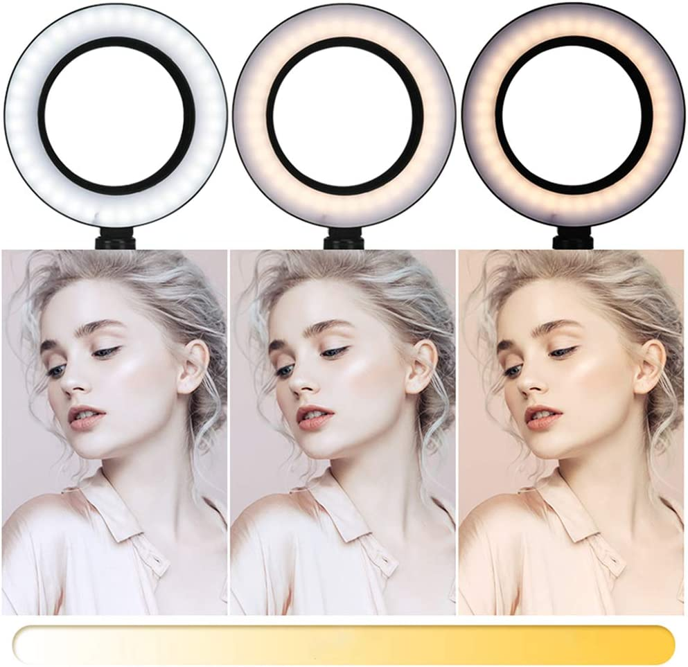 LED Ring Light 6 with Tripod Stand,Phone Holder and Carrying Bag for Live Streaming /& YouTube Video,Dimmable Desk Makeup Ring Light for Photography