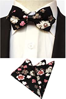 d9d3919ea8b9 Mens Black White Floral Flower Pre-Tied Bowtie Wedding Bow Tie Pocket  Square Set