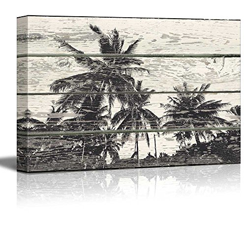 Palm Tree Woodcut Print Artwork Rustic