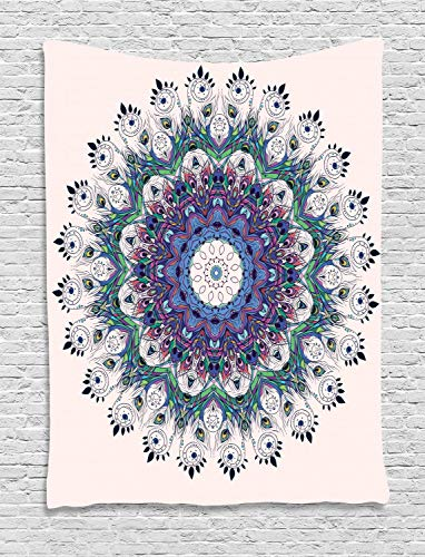 Ambesonne Peacock Tapestry Feather Decor, Bird Mandala Design Moroccan Motif, Bedroom Living Kids Girls Boys Room Dorm Accessories Wall Hanging Tapestry, Multi