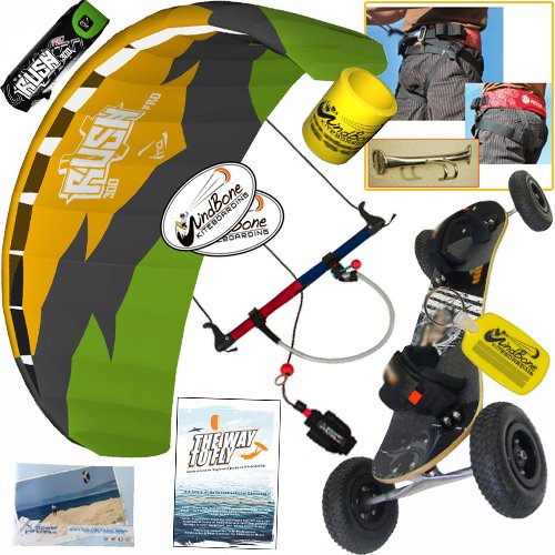HQ Rush Pro V 300 3M Kite Mountainboard Kiteboarding Bundle : (8 Items) Includes Landboard + Peter Lynn Harness + Loop + The Way To Fly DVD + WB Decals + WB Key Chain + Koozie