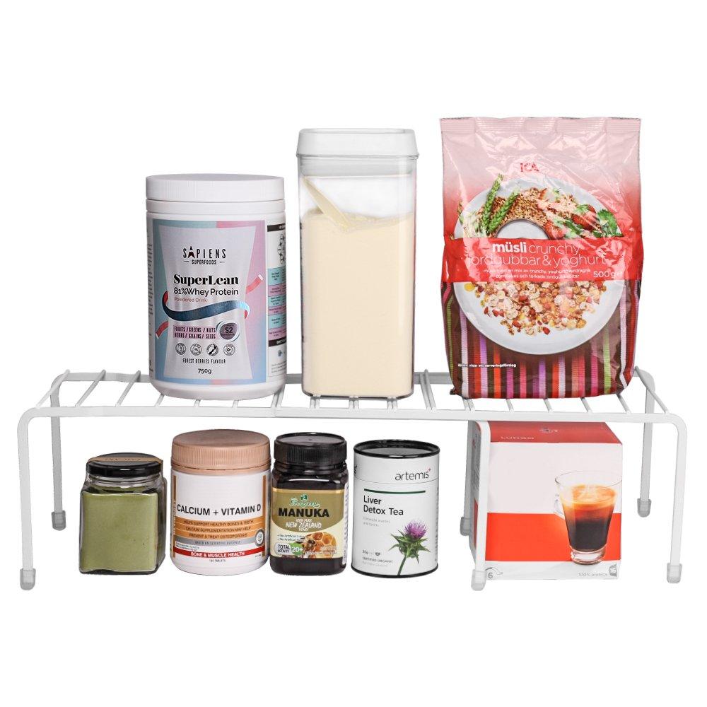 Baskiss Kitchen Storage Cabinet Shelf, Pantry Cabinet Organizer, Metal Frame, for Kitchen, Bathroom, Pantry, Closet, Countertop (White)