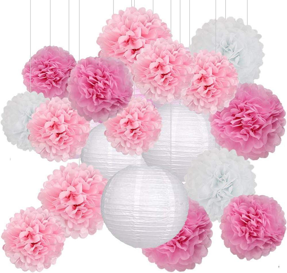 Decoración de Fiesta Pompom Flores,Abanicos de Papel Bola,Kit de Fiesta de Pompones,Papel para Colgar Bola Decoración,pompones de papel,Flores Decoracion Cumpleaños (18 set)
