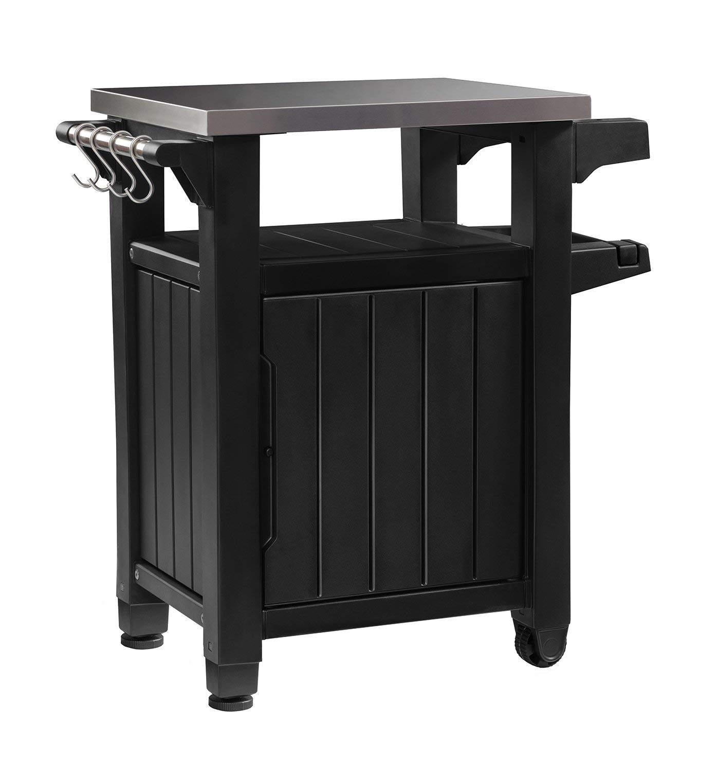 Keter Unity Indoor Outdoor BBQ Entertainment Storage Table/Prep Station with Metal Top, Graphite (Renewed)