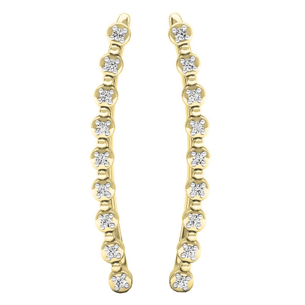 0.05 Carat (ctw) 14K Yellow Gold Round White Diamond Ladies Crawler Curved Climber Earrings