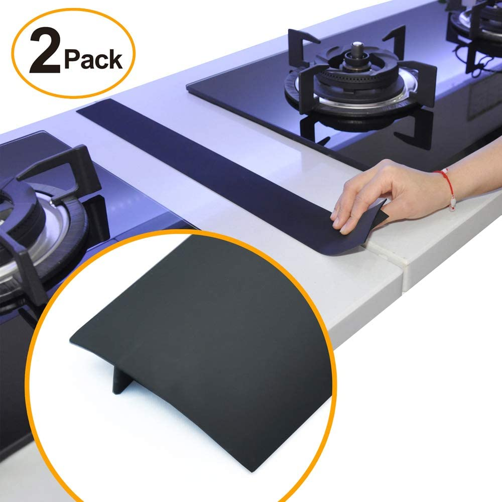 Kitchen Silicone Stove Counter Gap Cover, 25 inch Long & Extra Wide Stove Gap Filler Range Strips 2pcs,Between Oven and Countertop Dishwasher, Dryer,Easy Clean Heat Resistant Gap Guards Black