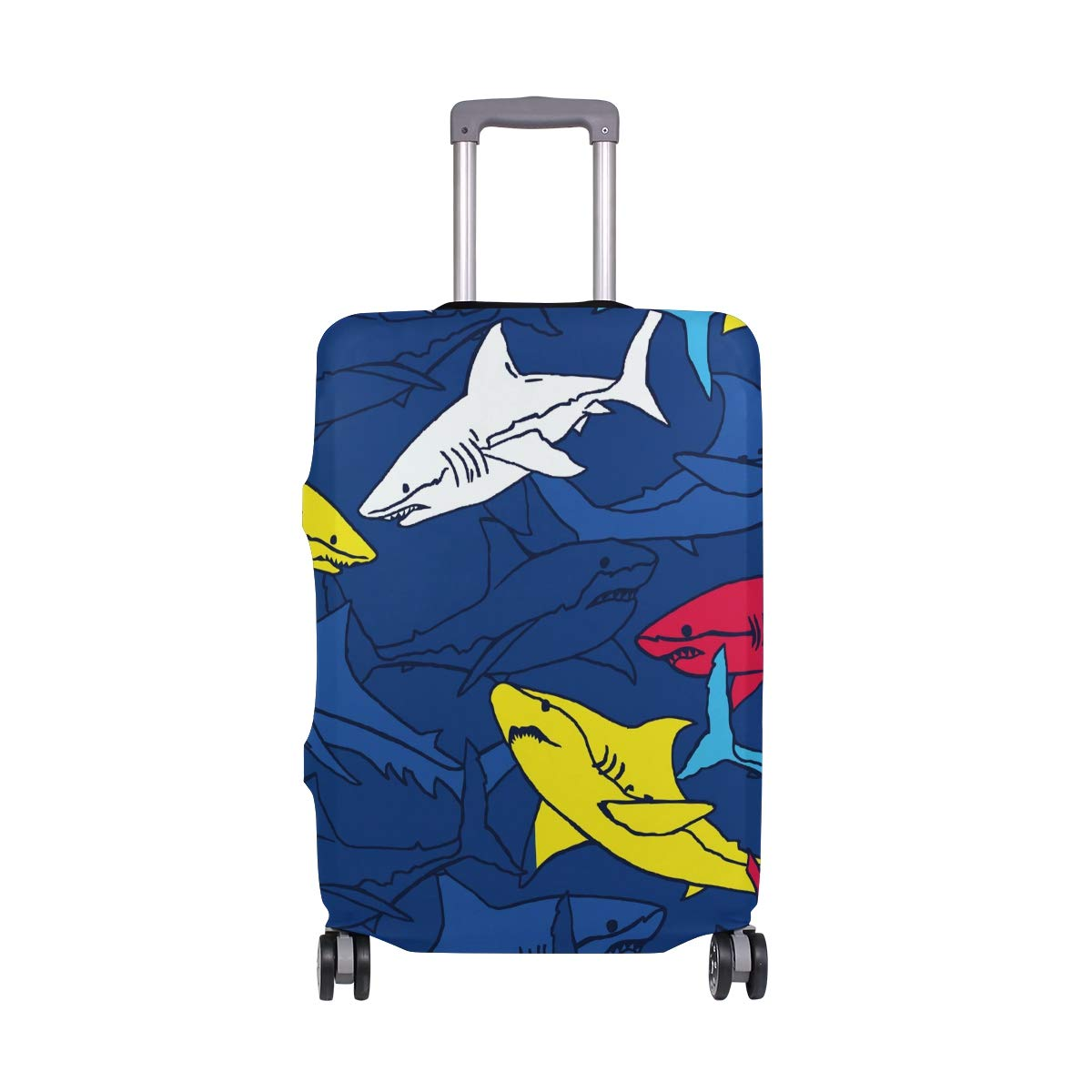 Baggage Covers Blue Navy Yellow Red Sharks Pattern Washable Protective Case