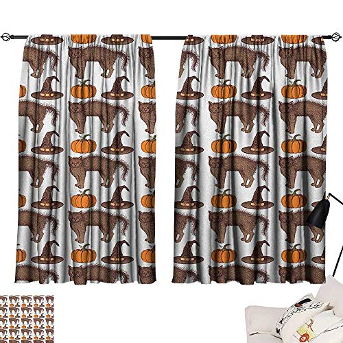Warm Family Halloween Decor Curtains Seasonal Vintage Pattern with Pumpkin Squash Witch Hats and Cat Figures for Living, Dining, Bedroom (Pair) 72