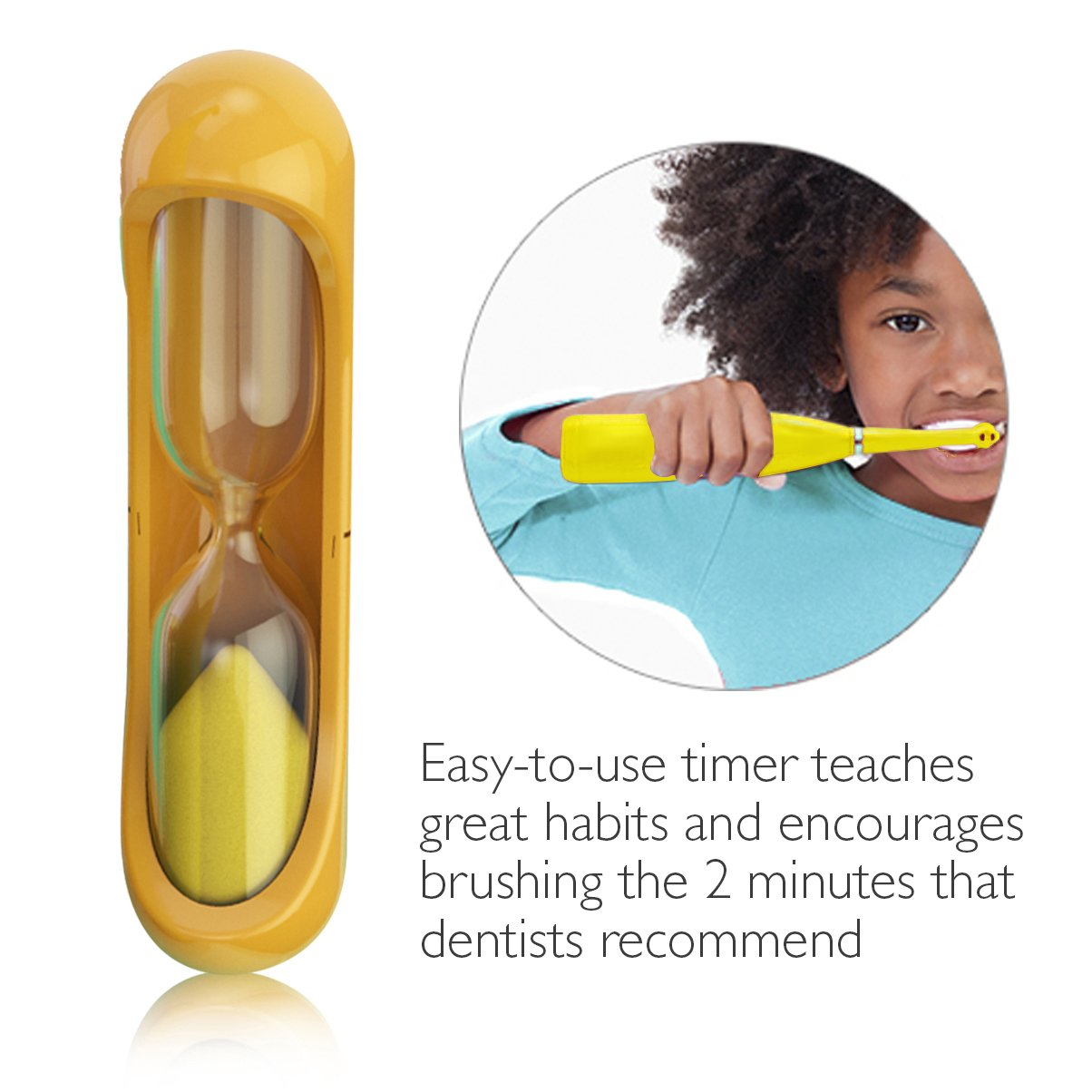 Brusheez Children's Electronic Toothbrush Set – Includes Battery-Powered Toothbrush, 2 Brush Heads, Cute Animal Head Cover, 2-Minute Sand Timer, Rinse Cup, and Storage Base - Jovie the Giraffe by Brusheez (Image #4)