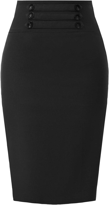 KANCY KOLE Womens High Waist Stretch Knee Length Bodycon Midi Pencil Skirt