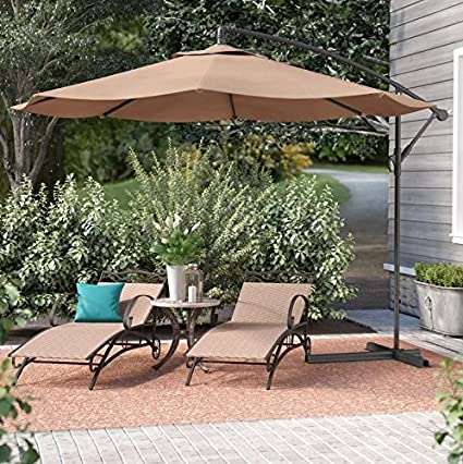 belleze patio umbrella 10 ft offset cantilever umbrella outdoor market hanging umbrellas and crank w - Amazon Patio Umbrella