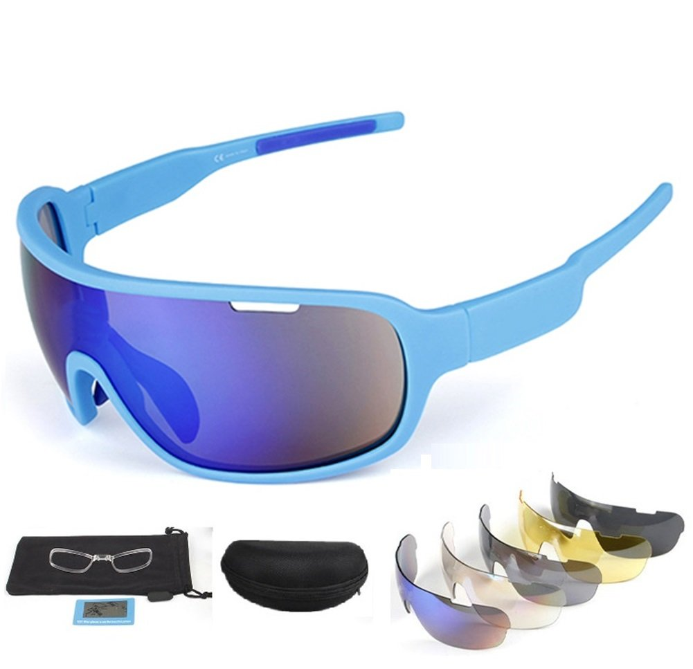 Kagogo 偏光スポーツサングラス UV400 保護 サイクリング用メガネ 交換可能な5つのレンズ付き サイクリング 野球 釣り スキー ランニング ゴルフ用  Fluorescent Blue B07C2NC6WF