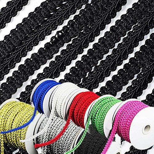 adorox-25yards-braided-gimp-trim-ribbon-party-event-wedding-birthday-decoration-black-1-roll