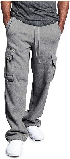 cheelot Mens Straight Leg Relaxed Long Pants Loose Combat Work Pants