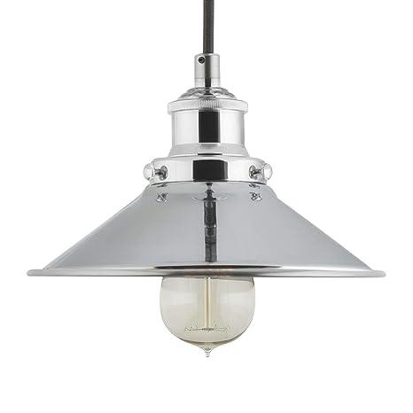 7072926c6b06 Andante Industrial Kitchen Pendant Light - Chrome Hanging Fixture - Linea  di Liara LL-P407-PC - - Amazon.com