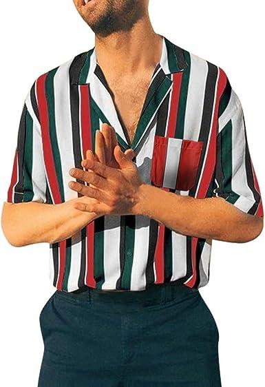 Berimaterry Funky Camisa Señores Manga Corta Bolsillo ...