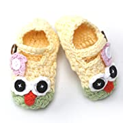 Newborn Infant Baby Boy Girl Crocheted Knit Owl Slippers Booties Shoes Socks (Yellow and Green, 0-3 Months)