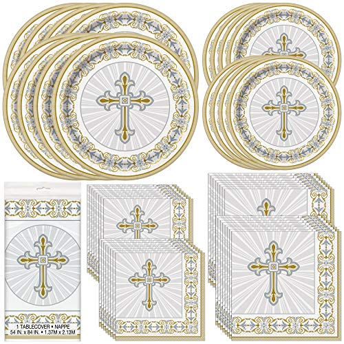 Unique Gold & Silver Radiant Cross Party Bundle | Luncheon & Beverage Napkins, Dinner & Dessert Plates, Table Cover | Great for Church and Religious Events