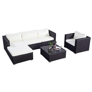 Amazon.de: Poly Rattan Sofa Gartenmöbel Lounge Set Gruppe ...