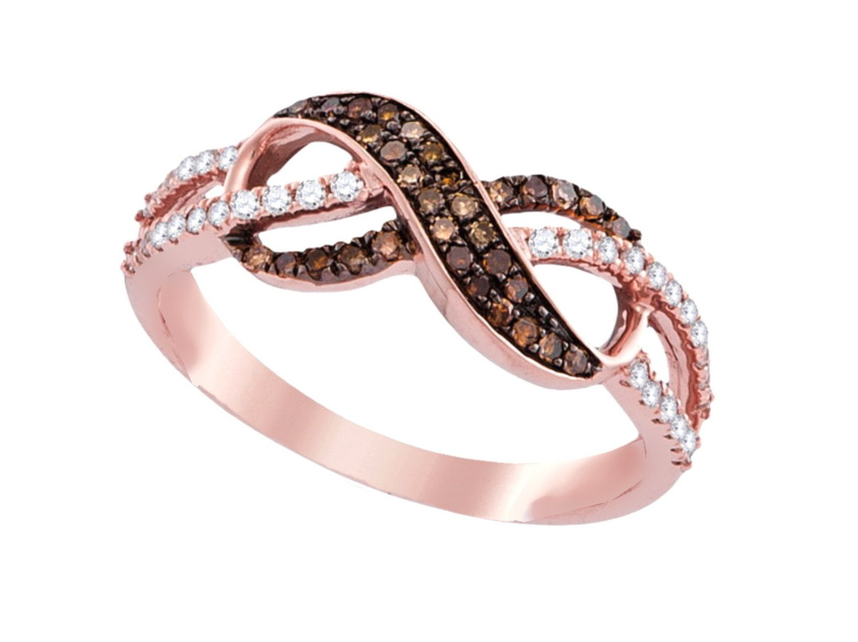 14K Rose Gold Infinity Brandy Diamond Chocolate Brown Beautiful Ring 1/3 Ctw.
