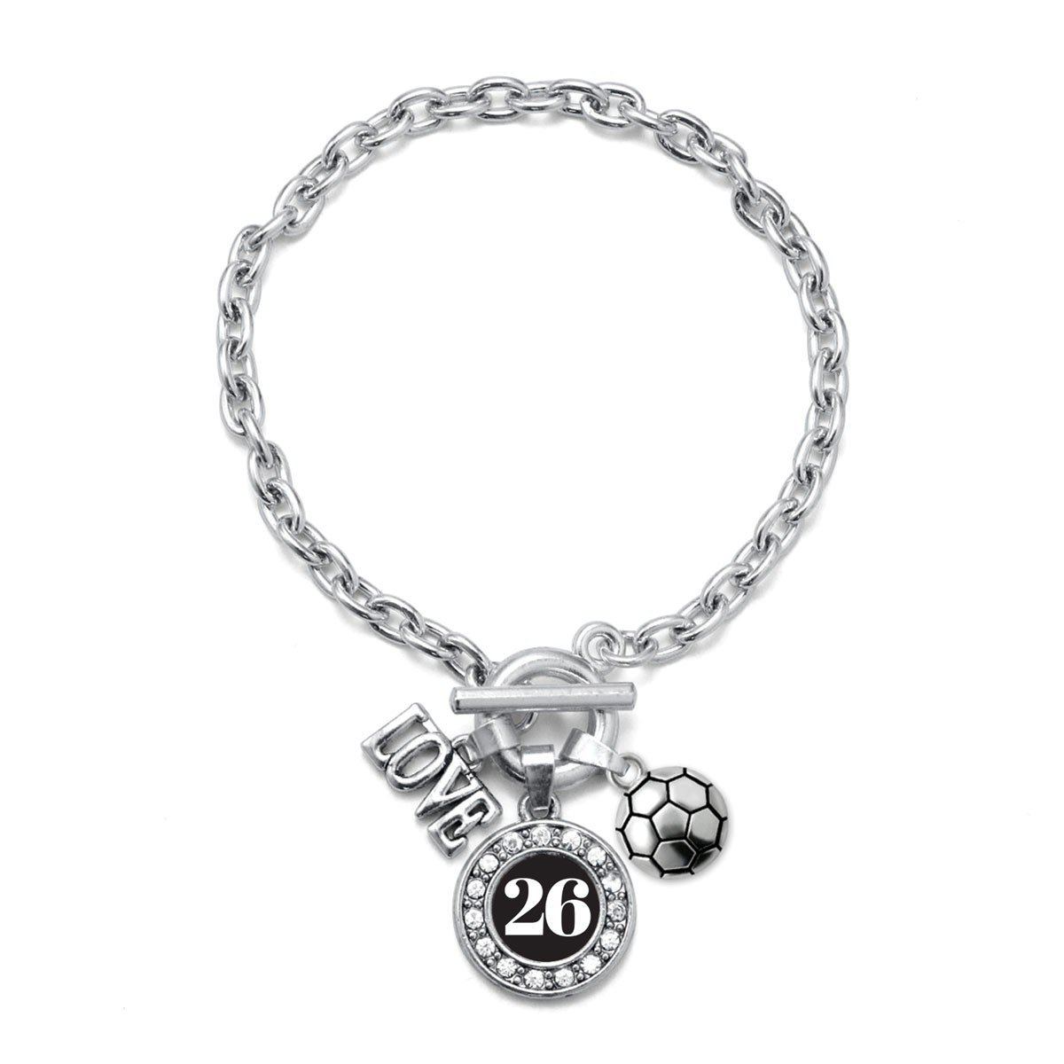 Inspired Silver My Sports Number Circle Charm Soccer Toggle Charm Bracelet Number 26