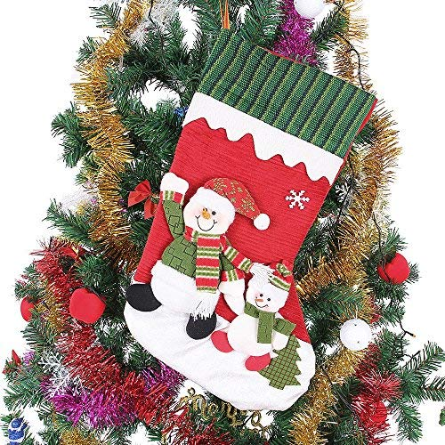 Ohuhu 18-inch Christmas Stocking Felt Applique Kit with Snowman Xmas Stockings, Red ()