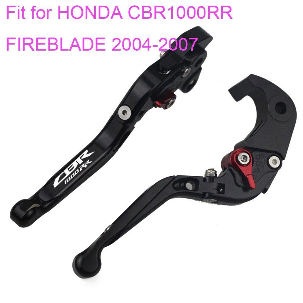 Auzkong Folding Extendable Adjustable CNC Brake Clutch Levers for Honda CBR1000RR//Fireblade 2004-2007 CB1000R 2008-2016 Green Black Green