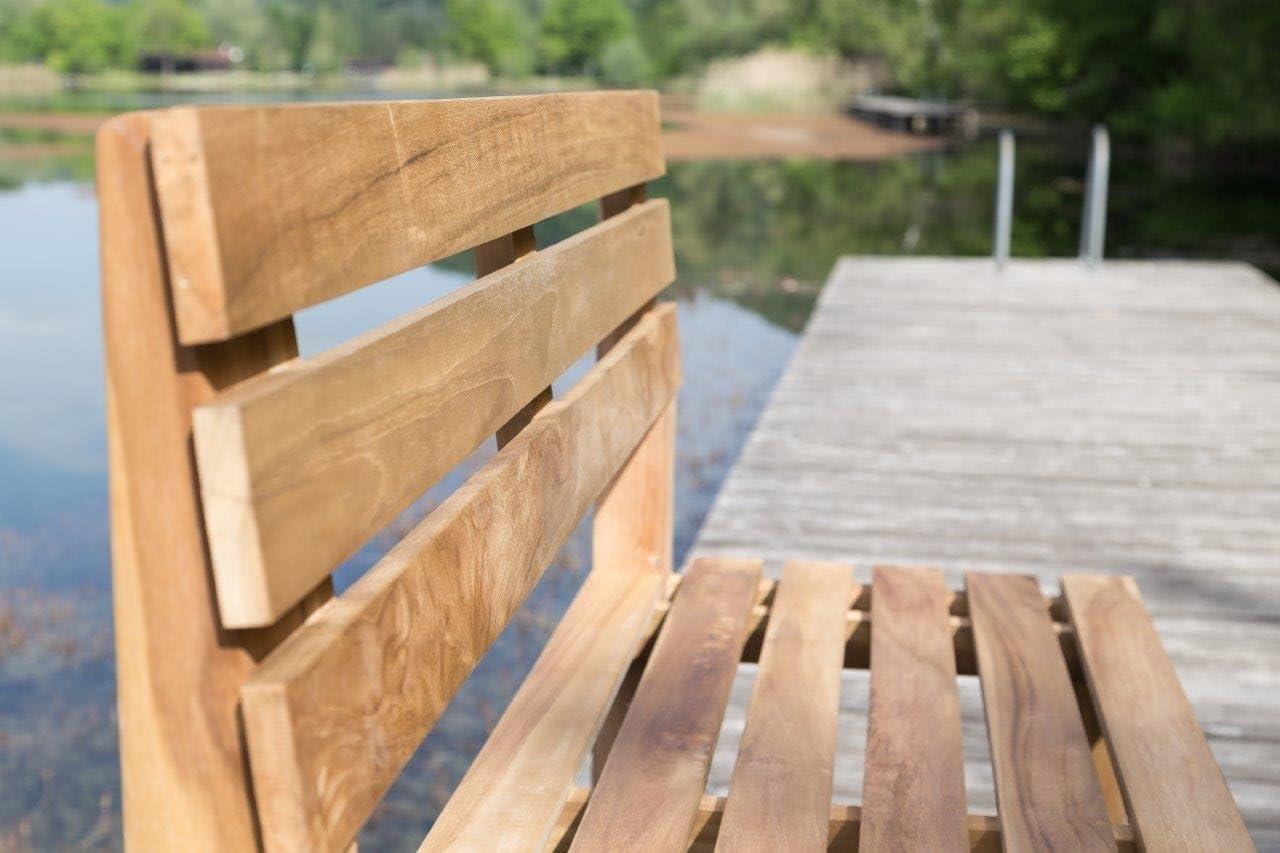LINDER Stabile Parkbank Gartenbank 120 cm in Premium Teak ohne Armlehne