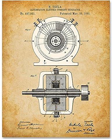 Tesla Generator 1891 - 11x14 Unframed Patent Print (Tesla Patent)