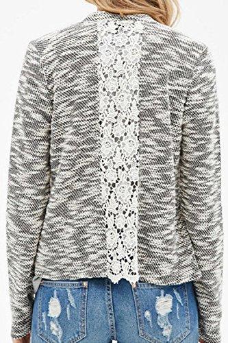 La Mujer Es Elegante Encaje Patchwork Knitting Cardigan Manga Larga Irregular Grey