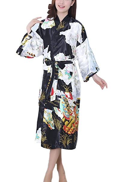 DELEY Mujeres Kimono Satén Seda Elegantes Suaves Batas de Baño Ropa de Dormir Albornoces Camisón Pijamas