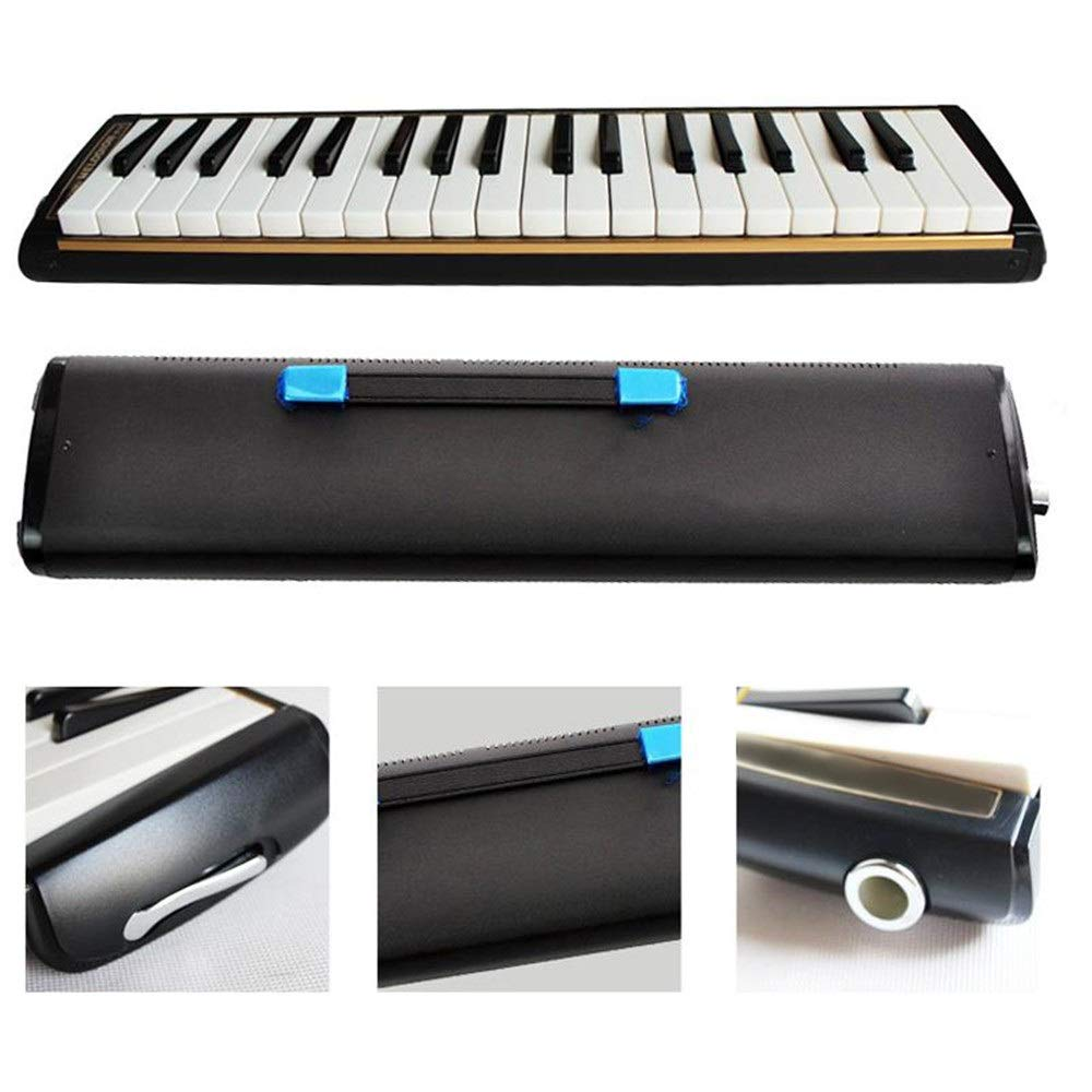 Melodica Musical Instrument Professional Adults 37 Keys Portable Pianica Melodica With Carrying Bag Musical Instrument Gift Toys For Music Lovers Beginners Kids Mouthpieces Tube Sets Black for Music L by Shirleyle-MU (Image #3)